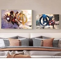 iron man captain america marvel movie anime nordic poster prints pictures canvas painting wall art living room decor superhero