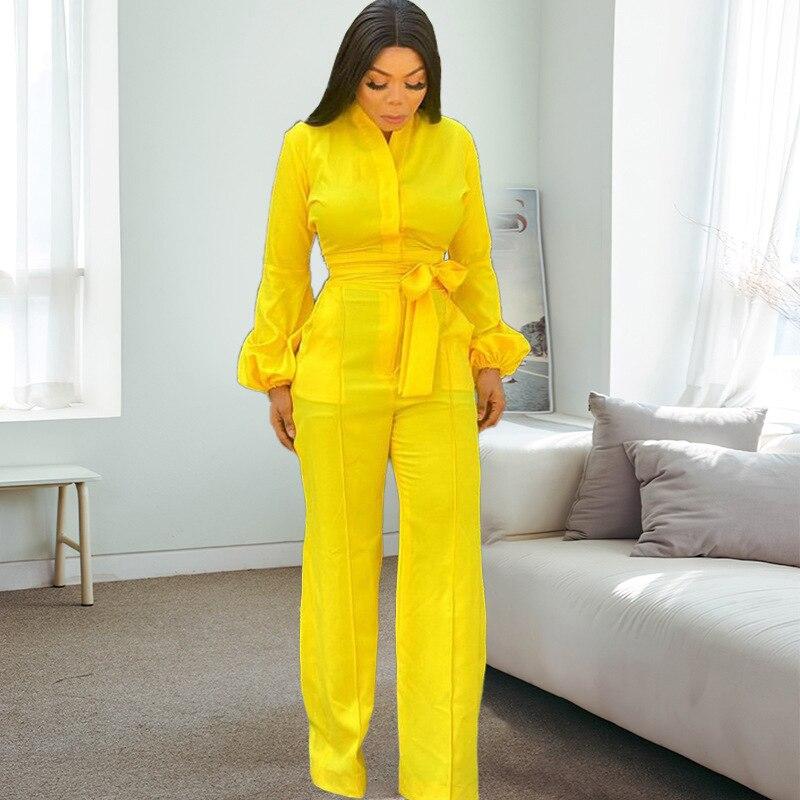 بدلة نسائية أكمام طويلة زر حتى مع حزام خصر الخامس الرقبة مكتب السيدات أنيقة مرنة عموما كبيرة الحجم الإناث Playsuit جديد