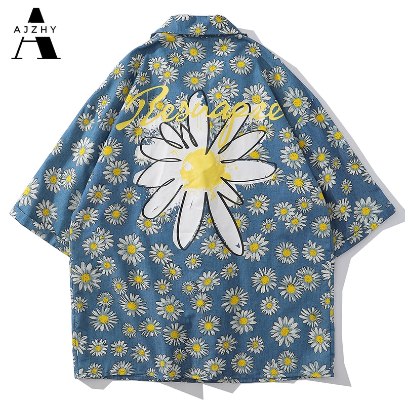 Camisa vaquera de manga corta para hombre Hip Hop Casual Streetwear para hombre de gran tamaño de moda Harajuku Daisy Flower Print Women Shirts