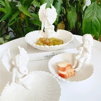 fruit plate ceramic tableware 3d angel wings shell shape candy dish instrument dessert dish creativity gift decorations for home