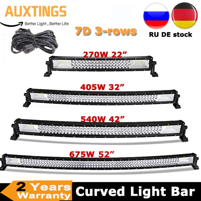"""22"""" 32"""" 42"""" 52"""" 270W 405W 540W 675W Curved LED Light Bar Offroad Led Bar Combo Beam 9v 30v For 4x4 4WD SUV ATV Boat Truck Cars"""