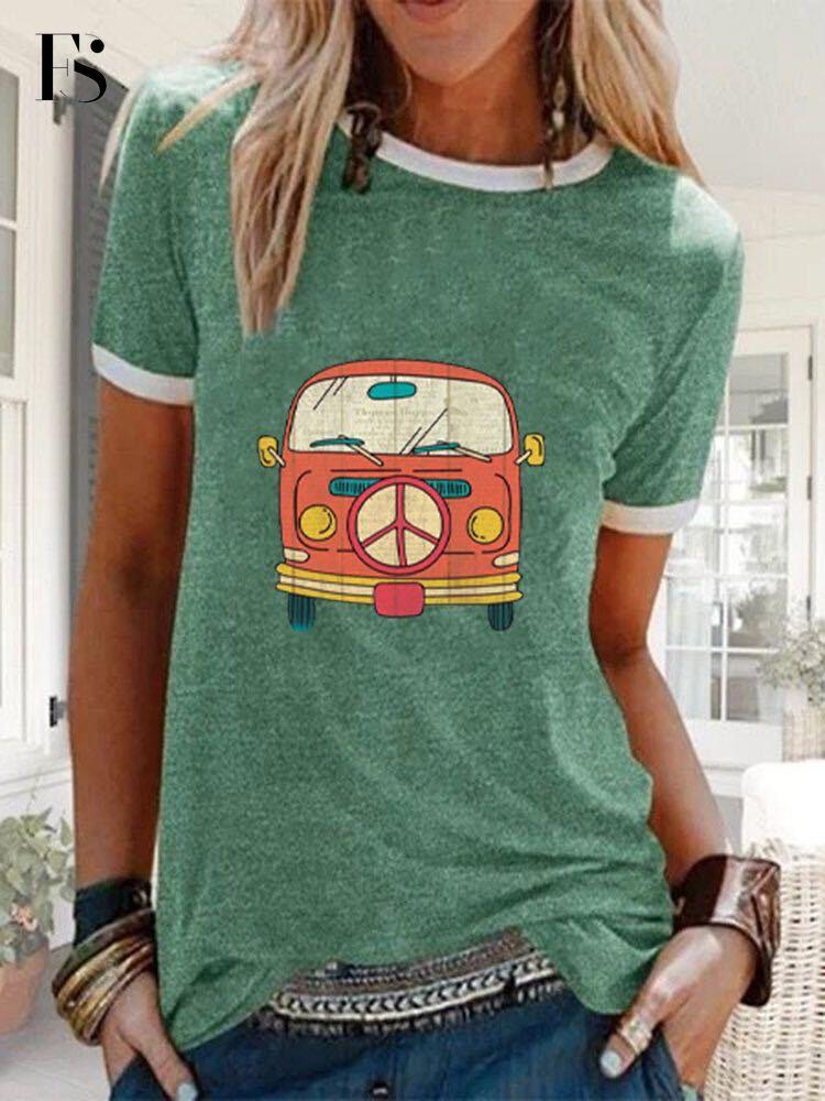 Camiseta para mujer, informal, con cuello redondo, con estampado de autobús, de Color sólido, gran oferta de talla grande, manga corta, Tops sueltos de algodón