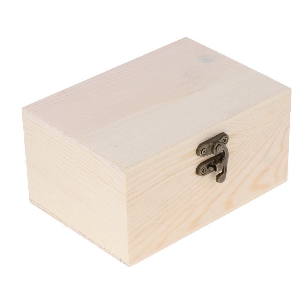 Boîte à bijoux en bois non fini avec couvercle à charnière pour les Arts, lartisanat, les loisirs et le stockage à la maison