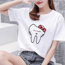 t shirt women summer aesthetic clothes cartoon tooth dentist fashion women's tshirt 90s Harajuku Kawaii O-neck