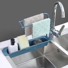 Estante telescópico para fregadero de cocina, organizador de fregadero, escurridor de jabón, soporte de esponja, cesta, accesorios de cocina