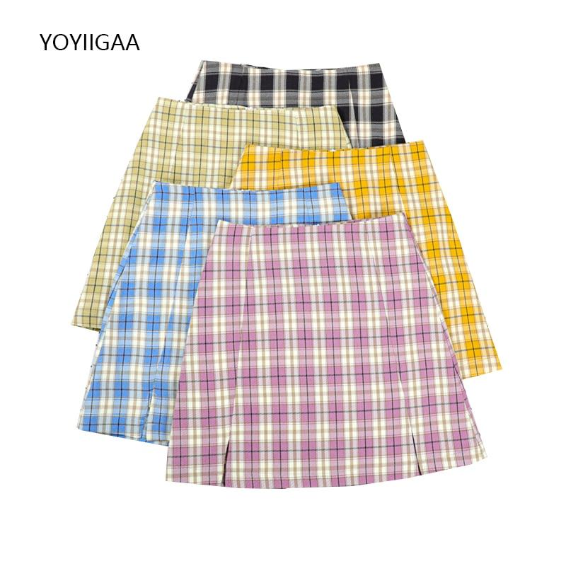 Summer Women's Pencil Skirts Fashion High Waist Female Plaid Skirt Korean Style Ladies Girls Mini Skirts Side Zipper Women Skirt