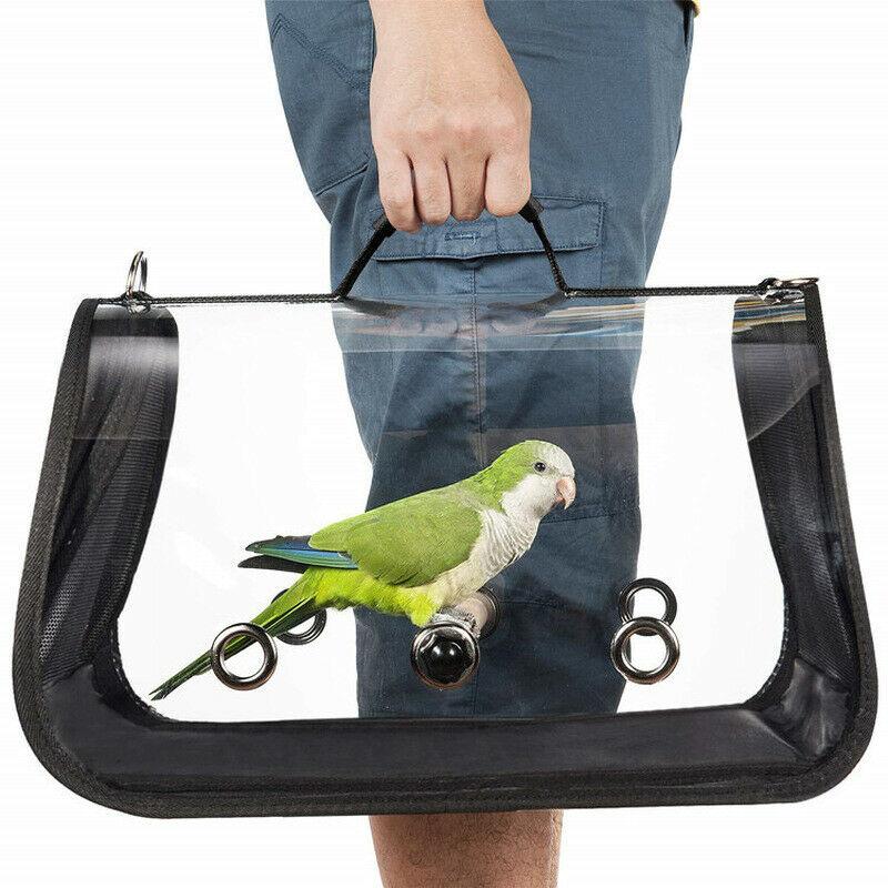 Jaula portátil para transportar loros y mascotas con percha, transporte al aire libre, transporte de aves canario, bolso multifuncional transpirable
