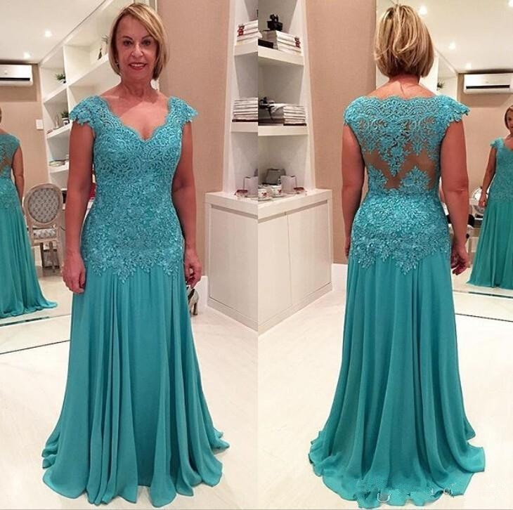 plus size green 2018 mother of the bride dresses a line 3 4 sleeves chiffon lace wedding party dress mother dresses for wedding Plus Size 2019 Mother Of The Bride Dresses A-line Cap Sleeves Chiffon Appliques Formal Groom Long Mother Dresses For Wedding