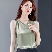 new v neck silk tank top women clothes 2020 summer sleeveless ladies tops basic solid casual camisole plus size camis haut femme