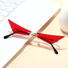 Internet Celebrity Recommend Trapezoid Unisex Men's Sunglasses Rimless Cat Eye Decoration Sun Glasse