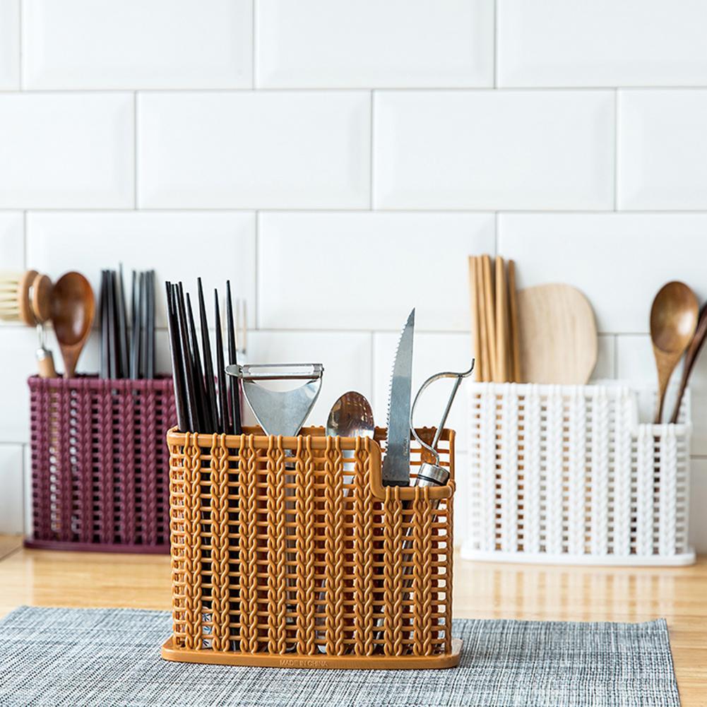 Estante de drenaje de plástico para cocina, palillos, caja de almacenamiento, organizador, accesorios de cocina ligeros de ratán de simulación