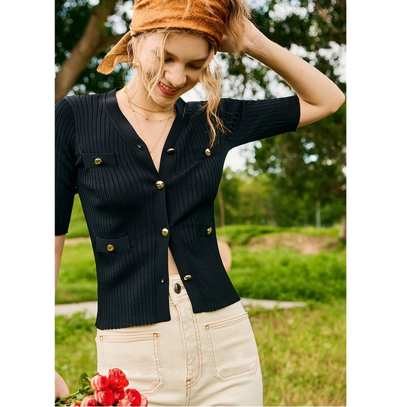 T-shirt Women 65% Viscose Blended  Knitted Simple Design V Neck Short Sleeve Solid Ladies Elegant Style Top Ladies New Fashion