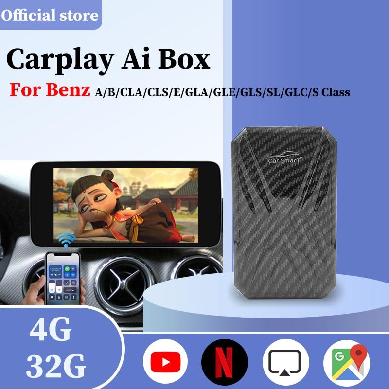 مشغل وسائط متعددة لاسلكي Carplay لـ Apple Android ، صندوق فيديو AI ، لمرسيدس بنز ، Mirrorlink ، Carplay ، Android ، Auto ، bluetooth 2.0