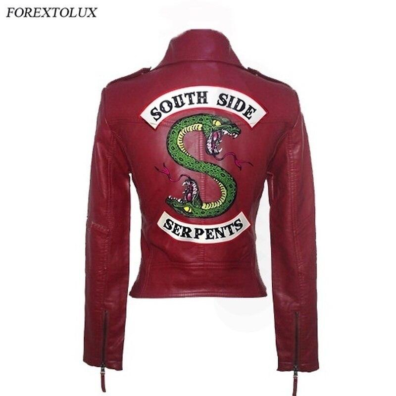 جاكيت نسائي من الجلد الصناعي Riverdale Southside Serpents ، جاكيت من البولي يوريثان بسحاب ، مراوح Kpop ، نحيف ، ملابس نسائية ، ربيع ، خريف ، عصري