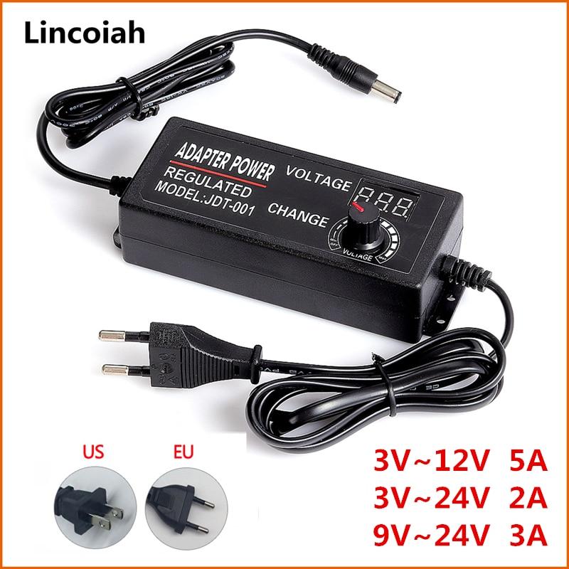 Adjustable 3V 5V 6V 9V 12V 15V 18V 24V 1A 2A 3A 5A Universal AC/DC Adapter Display Screen Voltage Regulated Power Supply Adatpor