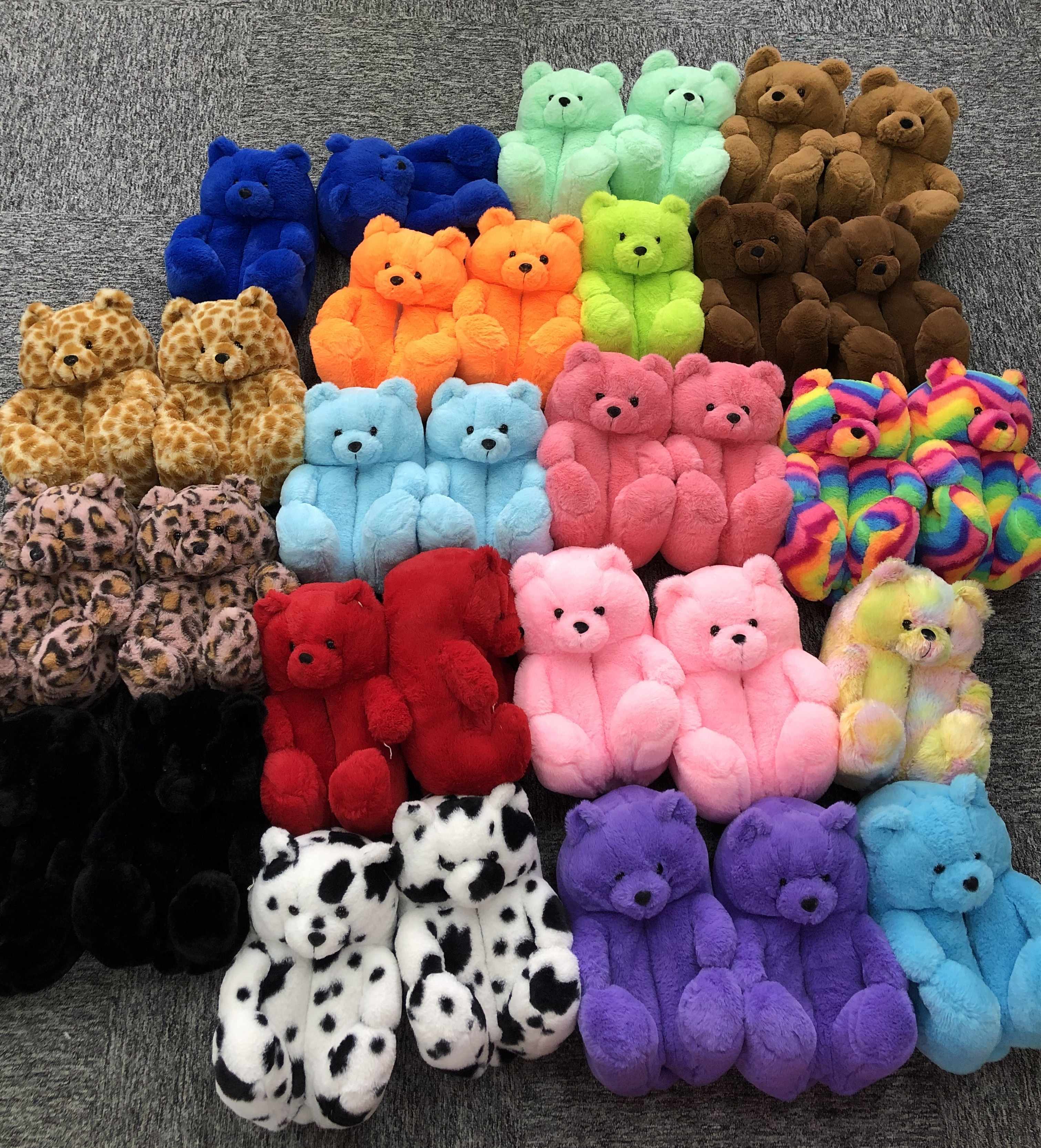 Plush Teddy Bear House Slippers Brown Women Home Indoor Soft Anti-slip Faux Fur Cute Fluffy home slippers Women Winter Warm Shoe