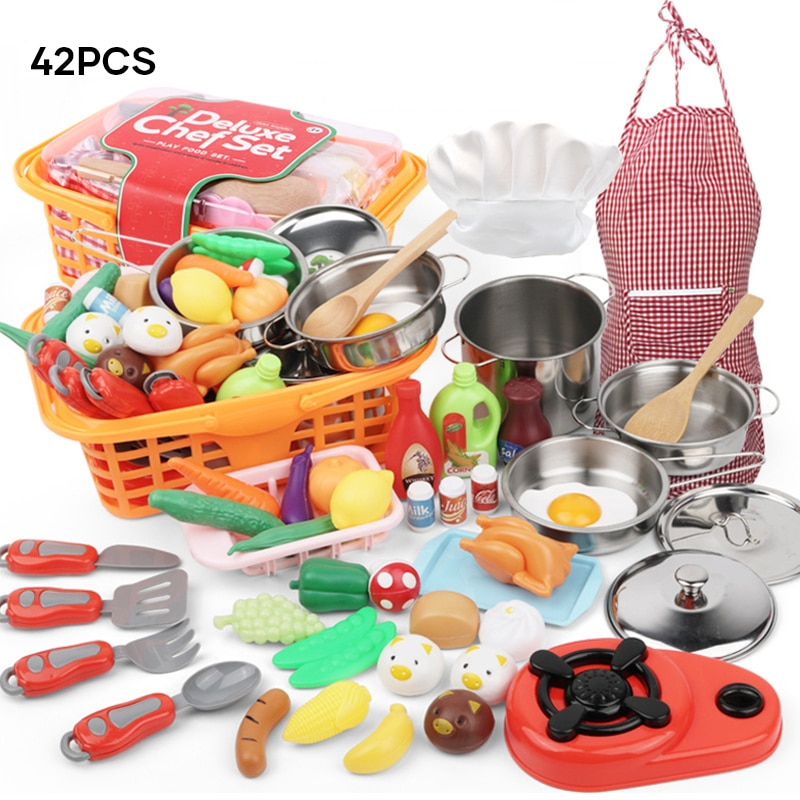 42pcs Kitchen Cooking Set Girls Boys Vegetable Playset Toy for Kids Early Age Development Educational Pretend Play MDJ99