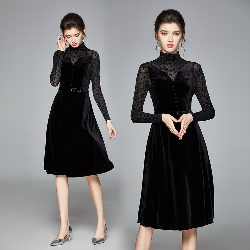 Simgent Belted Dress Woman Long Sleeve Turtleneck Velvet Patchwork A Line Elegant Black Winter Women Clothing SG012097