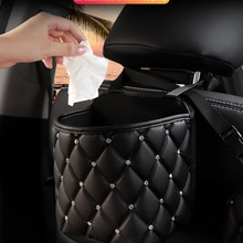 Automotive Goods Car Handbag Holder Luxury Leather Seat Back Organizer Mesh Large Capacity Bag Auto