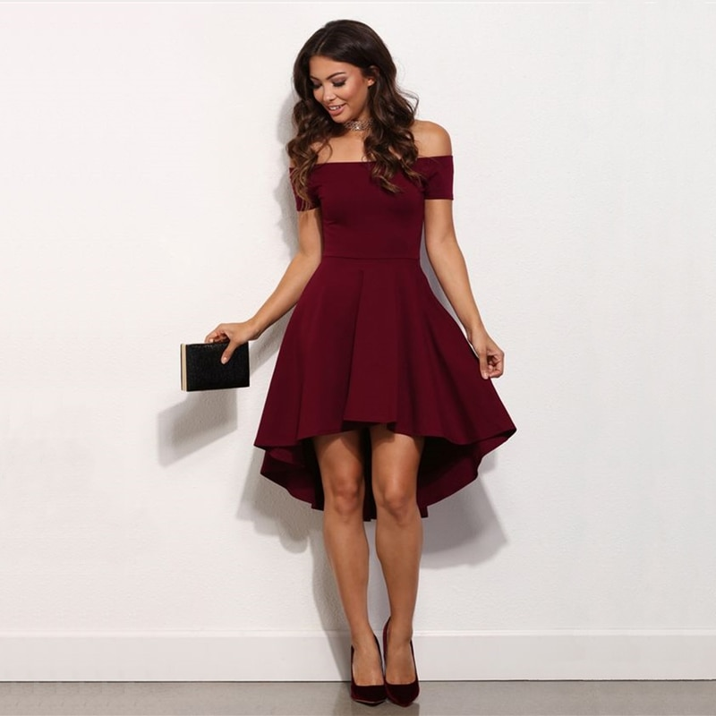 Vestidos para mujeres 2020 vestido de fiesta irregular manga corta vestido de mujer Color sólido hasta la rodilla vestido Sexy fuera del hombro