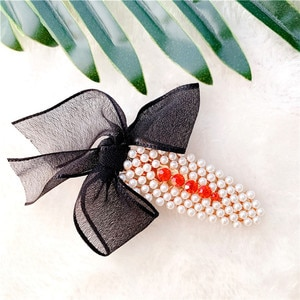 Women Pearl Yarn Bow Hair Clip Slide Hair Pin Barrette Bridal Hair Accessory