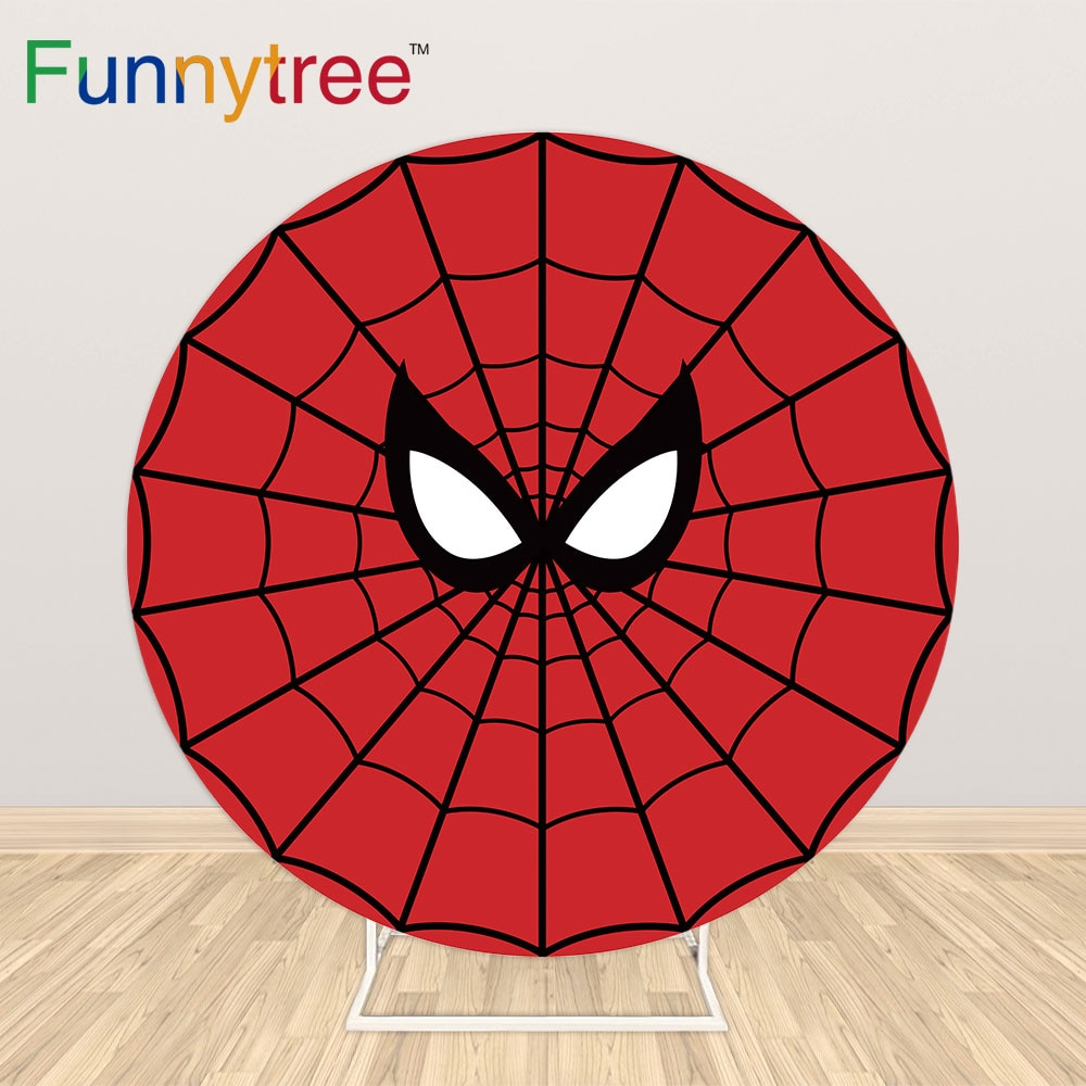 Funnytree بطل دائرة غطاء خلفية مستديرة العنكبوت ويب استحمام الطفل حفلة عيد ميلاد خلفية صور دعوة خلفية الديكور