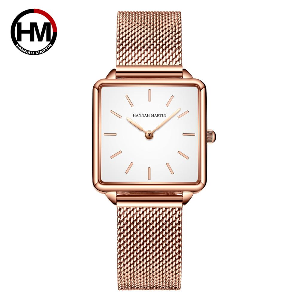 Genuine Leather Strap Japan Quartz Movement HM-108 Women Simple Design Top Luxury Brand Wristwatch Ladies Square Dial Watches enlarge