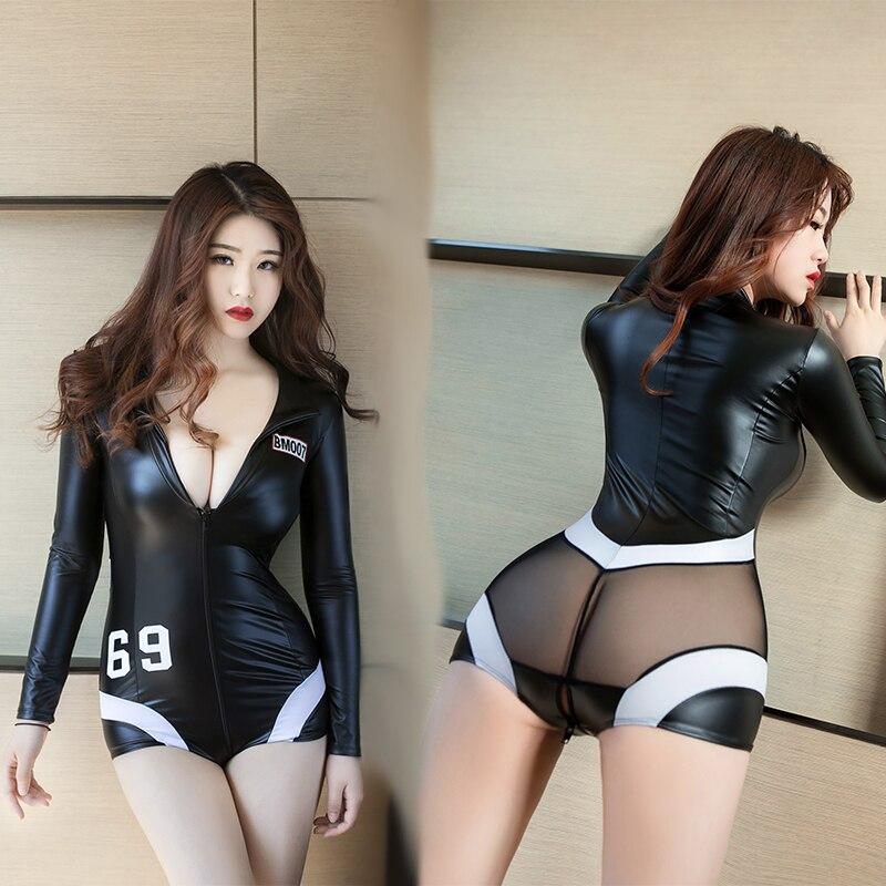 Sexy women leotard PU leather zipper bodysuit sexy club dress cheerleaders dancing teddy