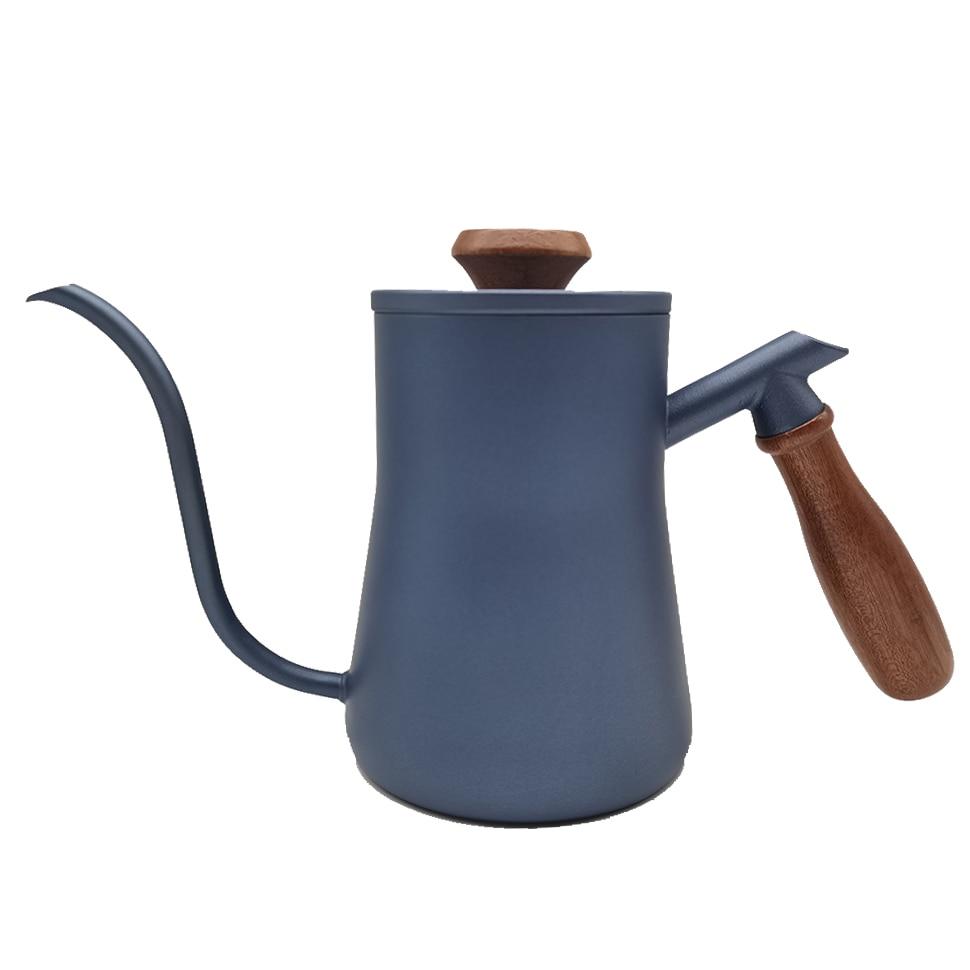 الأزرق الفولاذ المقاوم للصدأ Gooseneck إبريق قهوة غير عصا طلاء صب أكثر من صانع القهوة بالتنقيط إبريق الشاي سوان الرقبة رقيقة الفم مقهى صانع