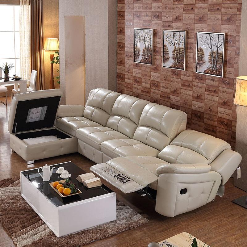 L شكل الحديثة تمديد المستعبدين مجموعة أريكة جلدية لغرفة المعيشة الكبيرة # CE-105C