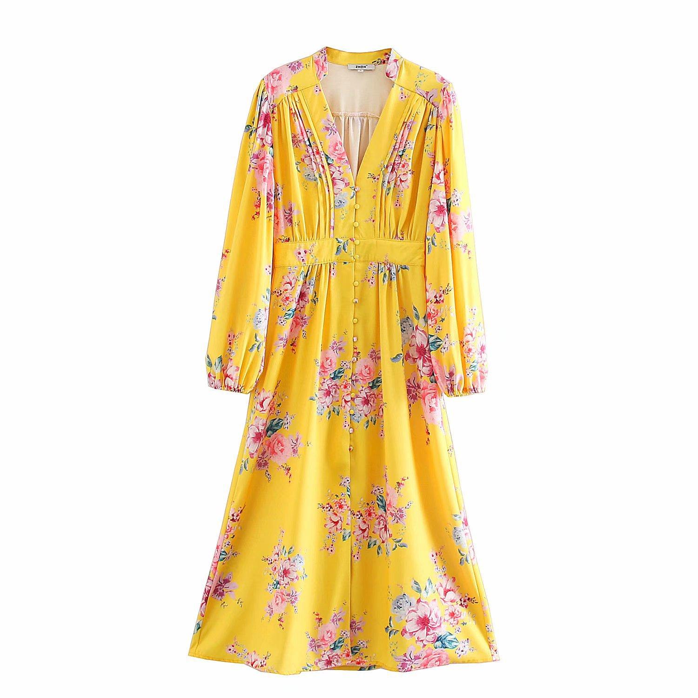 2020 primavera verão nova v-neck impressão yelllow floral zaraing vestido feminino sheining vadiming vestido feminino sexy vintage plus xdn9303