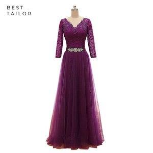 Grape Evening Dresses Tulle Lace Up A-Line Long Sleeves V Neck Sashes Formal Women vestidos de fiesta de noche robe de soiree