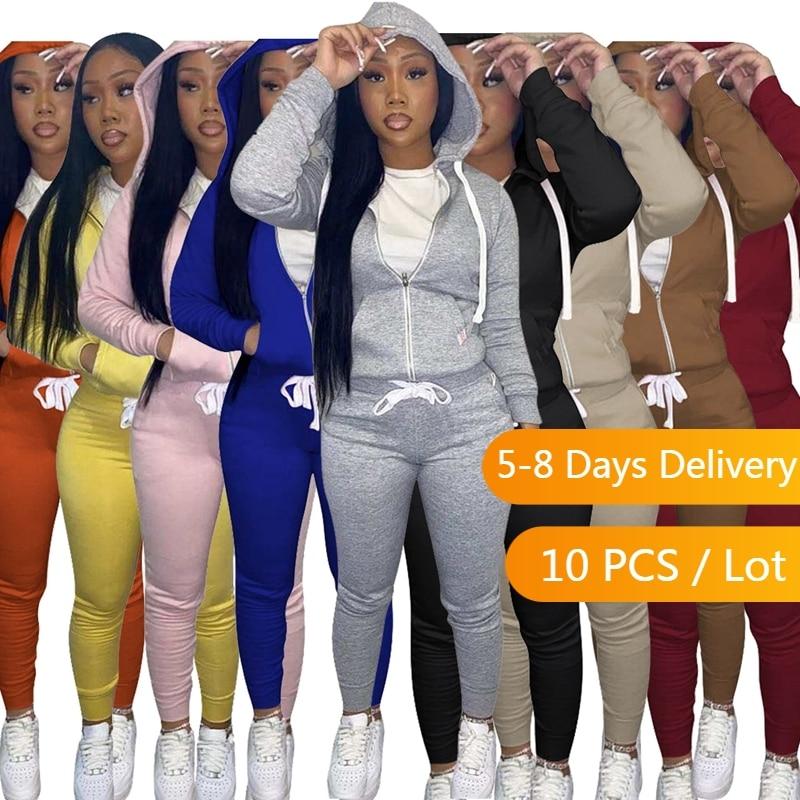 الجملة البنود الخريف الملابس سترات رياضية غير رسمية للنساء هوديس سترة بلوزات وسراويل مجموعة ملابس رياضية دافئة رياضية مجموعة النساء