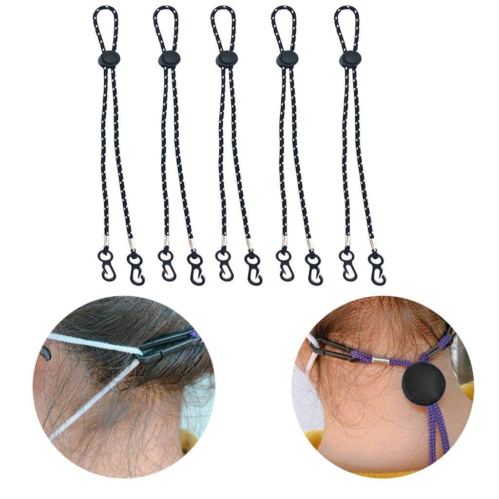 5 pçs ajustável máscara de extensão máscara facial conveniente descanso & orelha suporte corda confortável pendurar no pescoço corda dropship