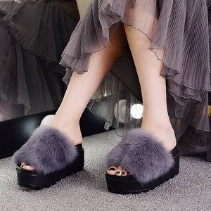 2021 new fashion spring autumn Trifle Thick bottom Fuzzy slippers women'slippers Rabbit hair Flip-flops High heels