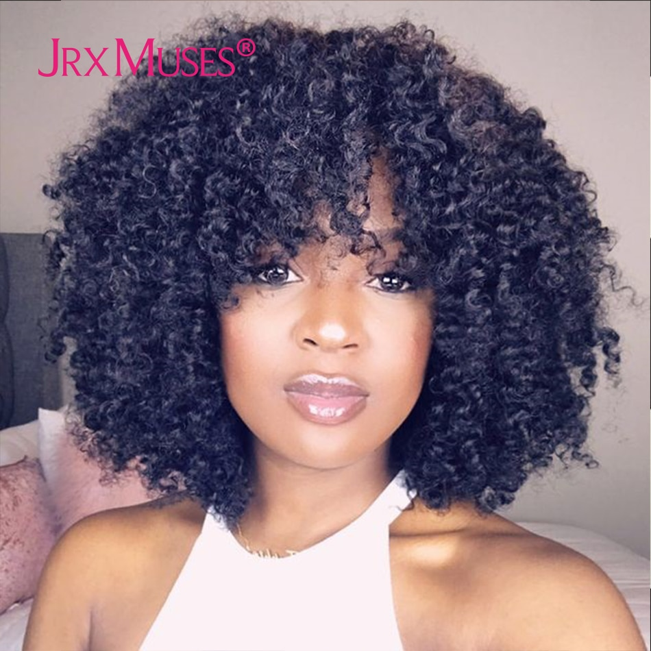 200 Density Curly Wig With Bangs Human Hair Wigs Machine Made Fringe Short Bob Wig Thick Afro Kinky Curly Wigs For Black Women
