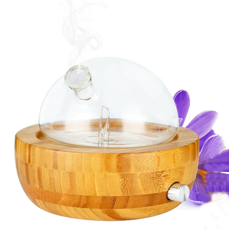 Air Humidifier Natural Bamboo Glass Essential Oil Nebulizer Aromatherapy Diffuser