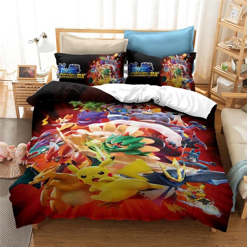 Conjunto de cama de pokemon 3d, desenhos animados, pikachu, super mario, bros, sonic, o ouriço, conjunto de capa de edredão, cama de king conjunto de linho