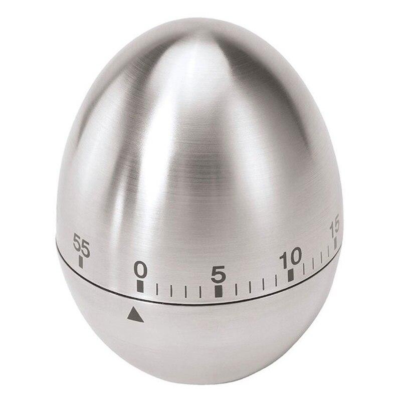 Temporizador para cocina de huevo de acero inoxidable de 60 minutos (Plata)