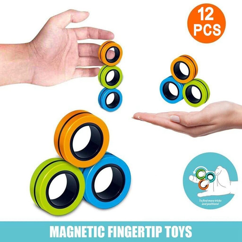 Anti-Stress Magnetic Rings Fidget Unzip Toy Magic RingTools Children Magnetic Ring Finger Spinner Ring Adult Decompression Toys pinwheel shape fidget spinner adjustable finger ring