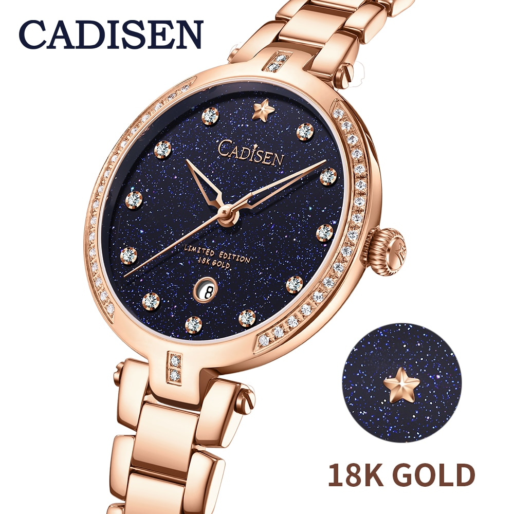 CADISEN-ساعة فاخرة من الذهب عيار 18 قيراطًا مرصعة بالألماس والفولاذ المقاوم للصدأ مع حركة كوارتز يابانية وتصميم نجمة السماء المرصعة بالنجوم