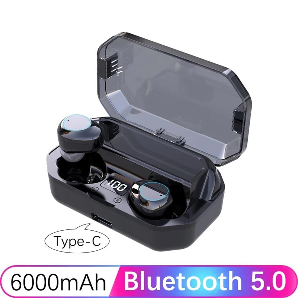 2020 bluetooth 5.0 fones de ouvido sem fio fone de ouvido 6d surround in-ear fones de ouvido estéreo 6000 mah led display inteligente ipx7 à prova dwaterproof água