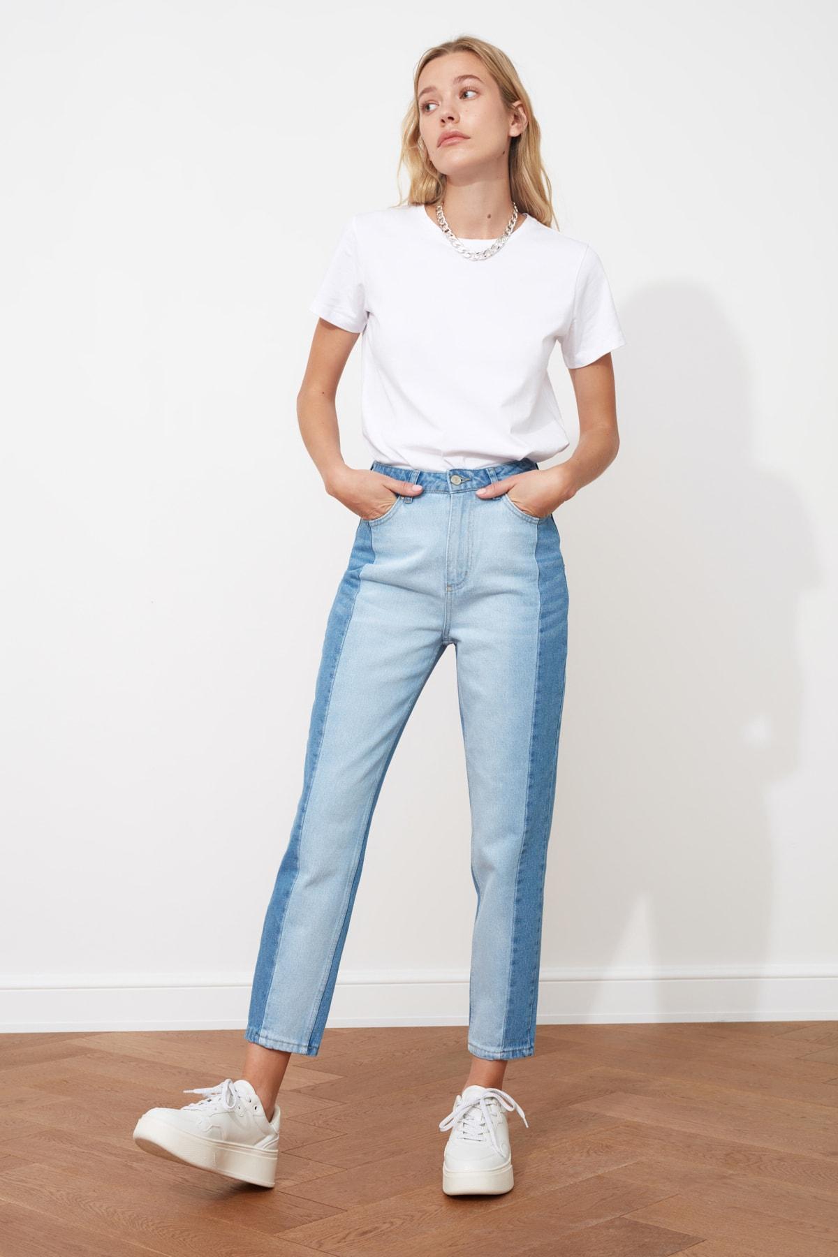 Trendyol Blocky High Bel Mom Jeans  Jeans Trousers Casual Denim Outerwear Blue Streetwear Vintage Women Fashion Jeans 2021