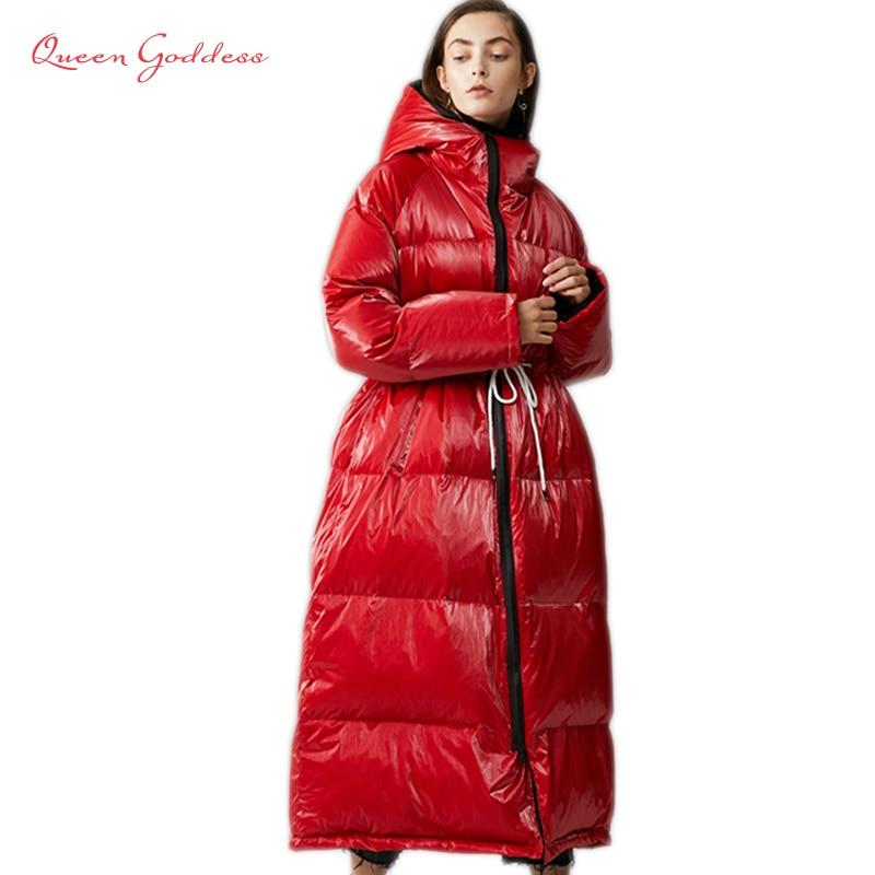 Invierno Europen moda Popular mujer pato blanco abajo Chaqueta larga Oversize parkas a prueba de agua con capucha abrigo de Material brillante