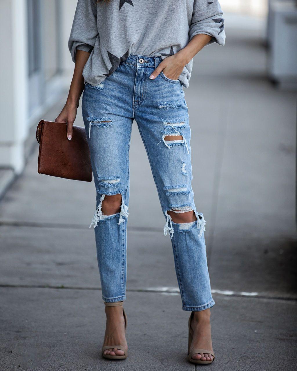 Летние модные рваные джинсы, женские джинсы в стиле хип-хоп, уличный стиль, укороченные брюки в стиле ретро