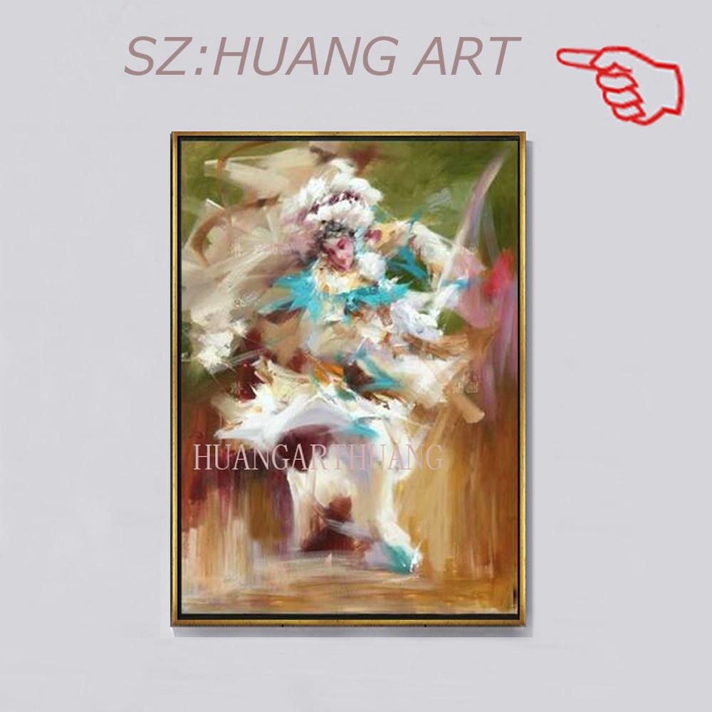 Figuras pintadas a mano que cantan la ópera, pintura artística superior, pintura china características del arte decorativo para pared del hogar gratis shippi