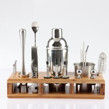 Nouveau 2020 23 pièces en acier inoxydable Cocktail Shaker ensemble Barware Kit avec carré en bois support pour barman boisson fête barre outils