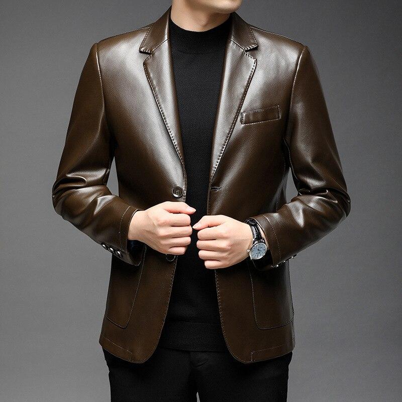 LHFFF Бесплатная доставка мужские костюмы из искусственной кожи весна-осень 2021 новинка Мужские Молодежные мужские деловые однотонные малень...