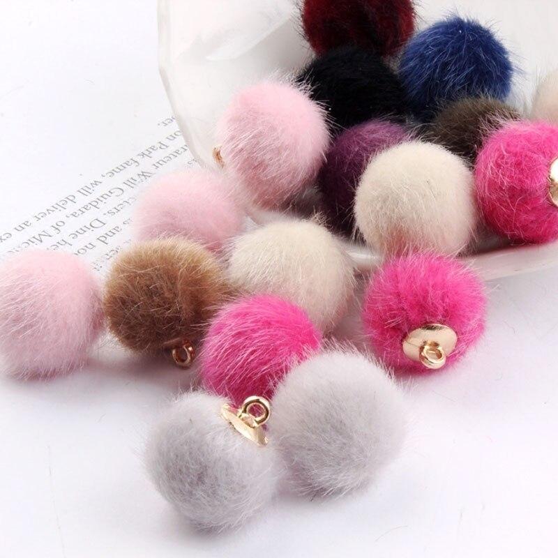 10 piezas cuentas de piel de visón imitadas para hacer joyas pendientes de bola Diy para mujer accesorios de pendientes de oreja