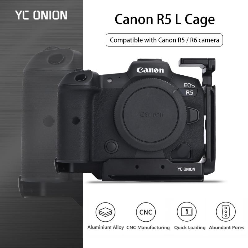 YC Onion Canon R5 Camera L Cage Aluminum Alloy Cage Quick Install Plate L-Bracket Camera Accessories Removable Cold Shoe